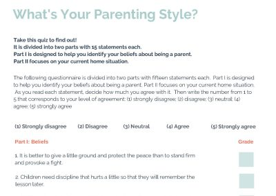 Parenting Style Questionnaire